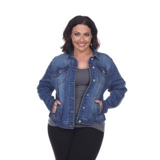 White Mark Women's Plus Size Denim Jacket