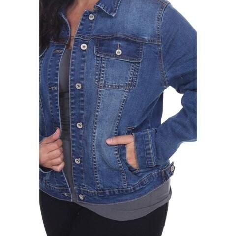 White Mark Women's Plus Size Denim Jacket