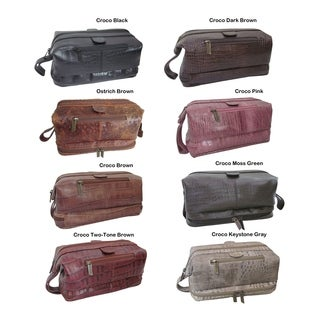 Amerileather Croco Printed Leather Toiletry Bag