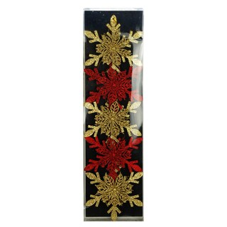 Gold/Red 5Pk Point Snowflake