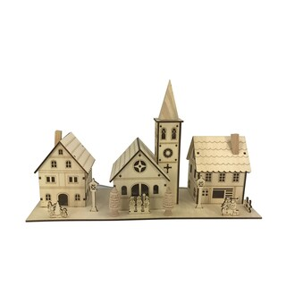 Plywood Laser Cut Village with Lights