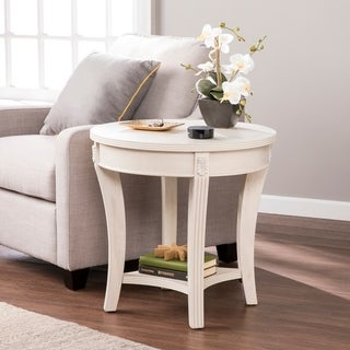 Copper Grove Sedum Traditional Round End Table - Whitewash