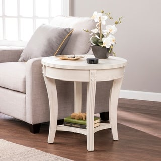 Harper Blvd Marlton Whitewash Traditional Wood Round End Table