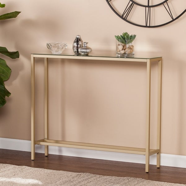 Exceptionnel Harper Blvd Dunbar Narrow Console Table W/ Mirrored Top   Gold
