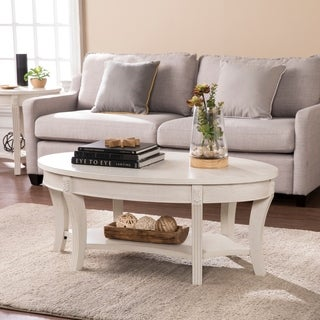 Harper Blvd Marlton Whitewash Traditional Oval Cocktail Table