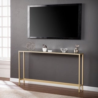 Marvelous Harper Blvd Dunbar Narrow Long Console Table W/ Mirrored Top   Gold