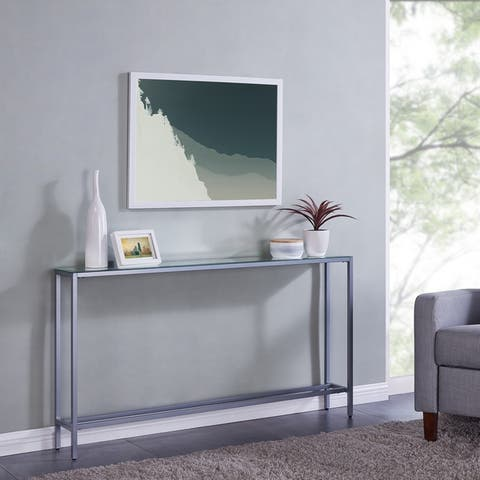 Silver Orchid Ham Narrow Long Console Table w/ Mirrored top