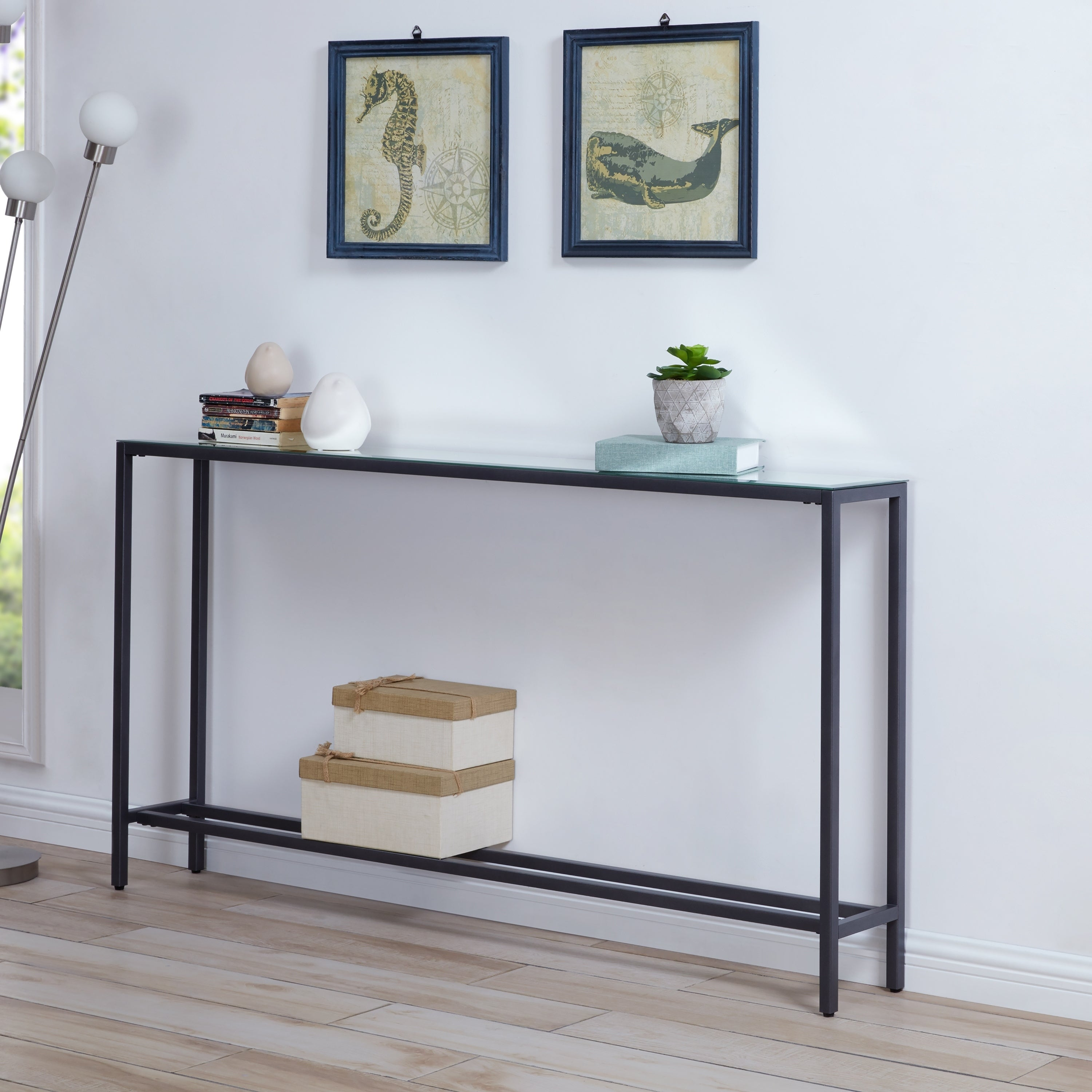 Silver Orchid Ham Narrow Long Console Table W Mirrored Top