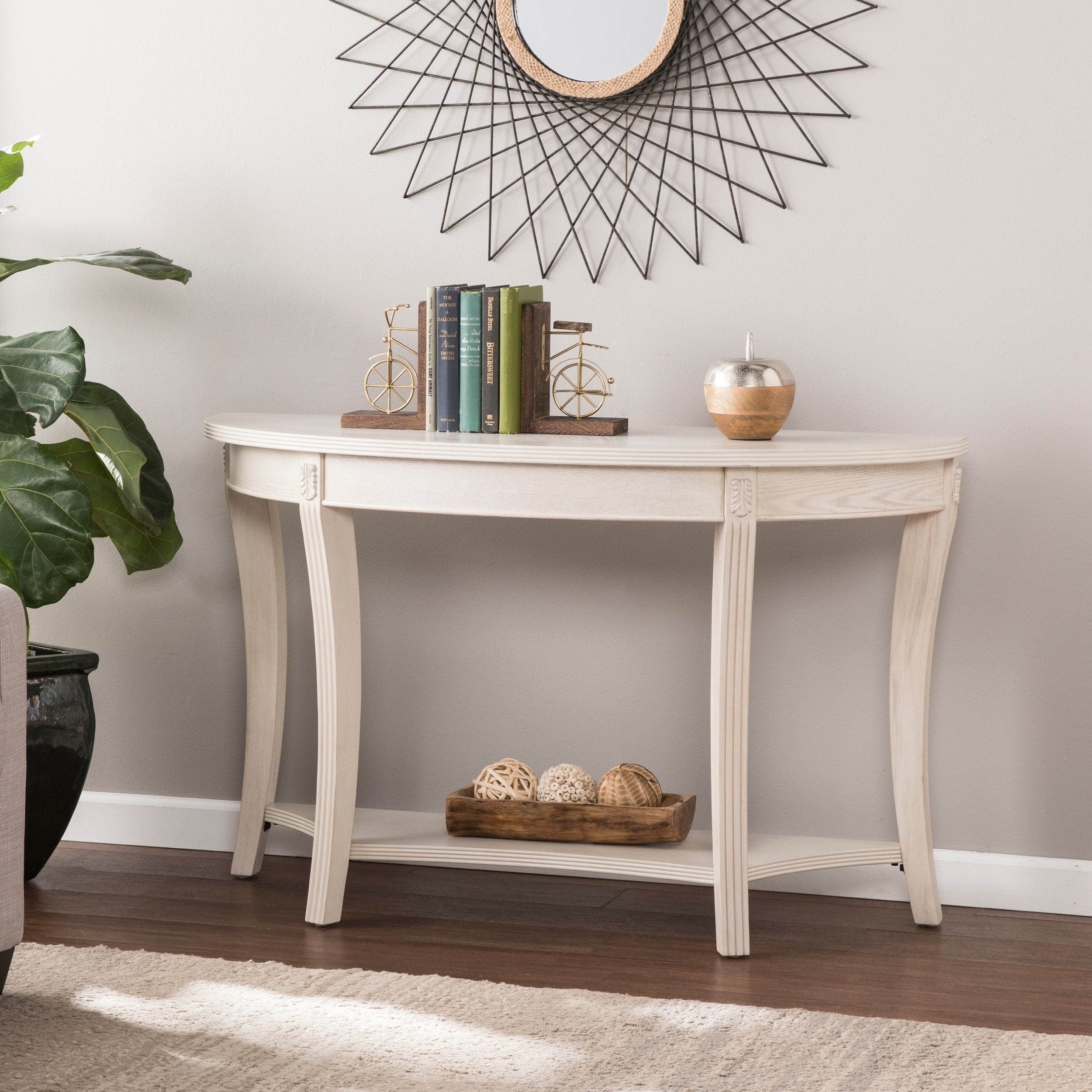 Overstock Console Tables Part - 7: Gracewood Hollow Camaj Traditional Demilune Console Table - Whitewash
