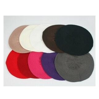 Women's Fashion Knitted Beret Net Style Crochet 140HB