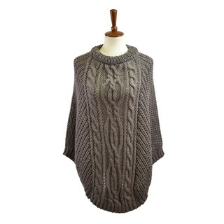 Le Nom Chunky Cable Knit Poncho (Option: taupe)