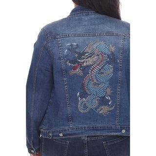 White Mark Womens Plus Size Embellished Denim Jacket