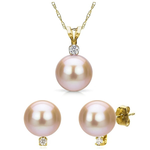DaVonna 14ky Gold Pink Freshwater Pearl and Diamond Earrings Chain Necklace Jewelry Set 18""