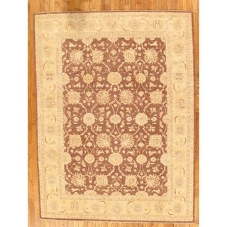 """Pasargad Ferehan Collection Brown/Ivory Hand-Knotted Wool Rug (8' 6"""" X 11' 3"""") - 9' x 12'"""