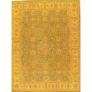 """Pasargad Overdye Collection Hand-Knotted Green Wool Rug (9' 1"""" X 12' 0"""") - 9' x 12'"""