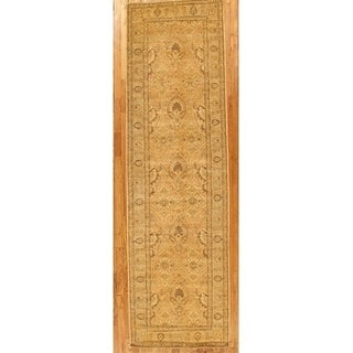 """Pasargad Gold/L. Blue Ferehan Collection Hand-Knotted Wool Runner (4' 0"""" X 13'11"""")"""