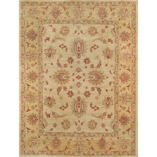 """Pasargad Ferehan Collection Hand-Knotted Beige Wool Rug ( 5' 9"""" X 7' 6"""") - 6' x 9'"""