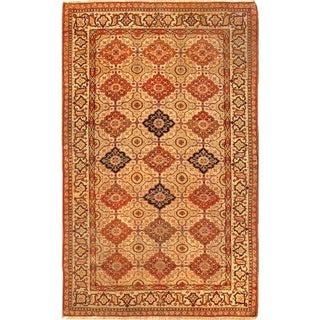 """Pasargad Antique Ferehan Beige Collection Hand-Knotted Wool Rug (4' 8"""" X 7' 5"""") - 5' x 7'"""