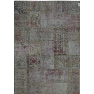 """Pasargad Patchwork Collection Hand-Knotted Beige Wool Rug (6'11"""" X 9' 9"""") - 7' x 10'"""