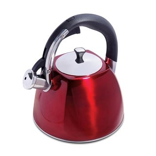 Red Stainless Steel Tea Coffee 2.5 Qt 2.37 Liter Whistling Kettle Tea Pot
