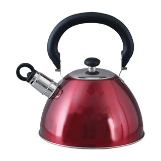 Red Stainless Steel Tea Coffee 1.8 Qt 1.7 Liter Whistling Kettle Tea Pot