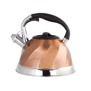 Stainless Steel Whistling Tea Kettle - Tea Maker Pot 3 Quarts 2.8 L. - Copper