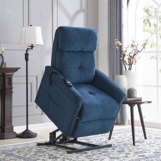 Gracewood Hollow Djebar Blue Microfiber Power Recline and Lift Chair