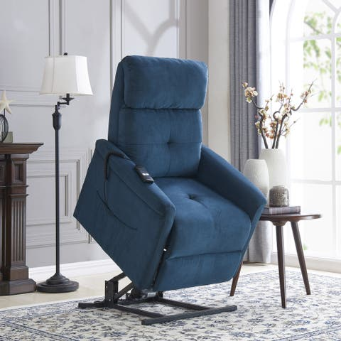 Copper Grove Polletts Blue Microfiber Power Recline and Lift Chair