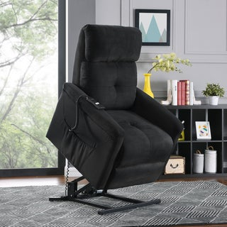 ProLounger Black Microfiber Power Recline and Lift Chair