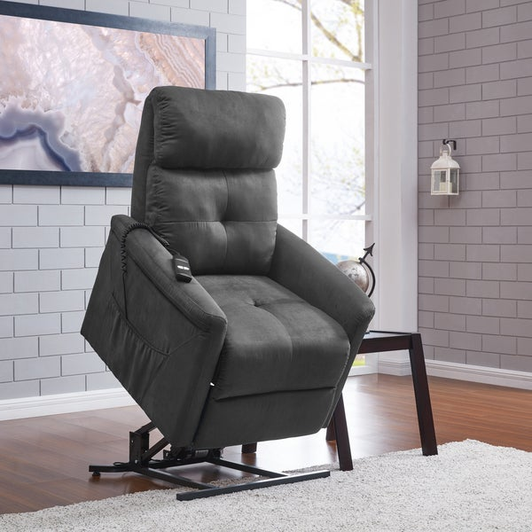 Copper Grove Polletts Grey Microfiber Power Recline and Lift Chair