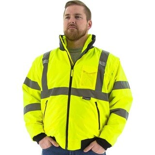 Majestic Glove 75-1381 PU Coated Polyester High Visibility Transformer 8 in 1 Bomber Jacket Yellow