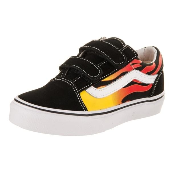 bace75cdeb9c42 Shop Vans Kids Old Skool V (Flame) Skate Shoe - Ships To Canada ...
