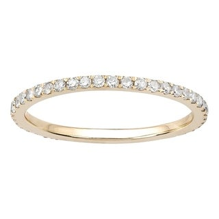 Viducci 10k Yellow Gold 1/2ct Pave Eternity Diamond Wedding Band