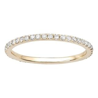 Viducci 10k Yellow Gold 1/2ct Pave Eternity Diamond Wedding Band