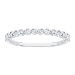 Viducci 10k White Gold Stackable Milgrain 1/6ct Diamond Wedding Band
