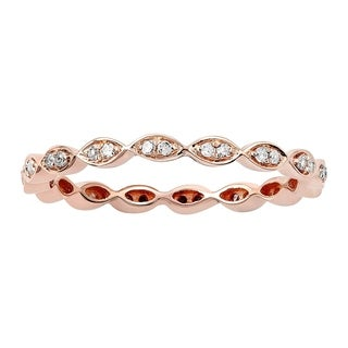 Viducci 10k Rose Gold 1/4ct Stackable Eternity Diamond Wedding Band