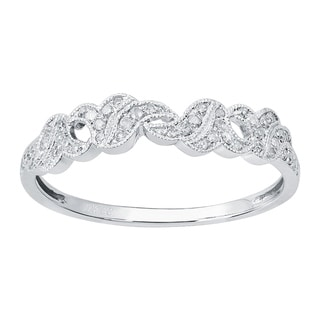 Viducci 10k White Gold Vintage Style 1/6ct Diamond Wedding Band