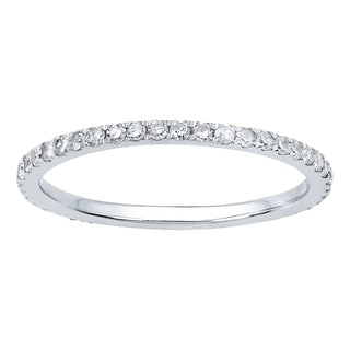 Viducci 10k White Gold 1/2ct Pave Eternity Diamond Wedding Band
