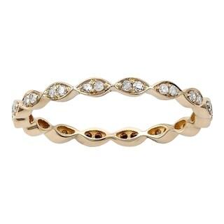 Viducci 10k Yellow Gold 1/4ct Stackable Eternity Diamond Wedding Band