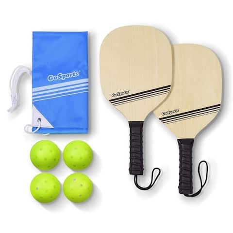 GoSports Wood Pickle Ball Starter Set - Includes 2 Wooden Paddles, 4 Official Pickleballs & Backpack Tote