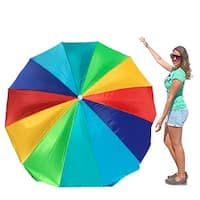 EasyGo Rainbow Beach Umbrella - Portable Wind Beach Umbrella Large - Folding Beach Umbrella with Screw Anchor and Carrying Bag