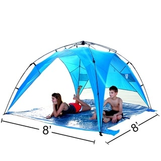 EasyGo Shelter XL - Instant Beach Umbrella Tent Pop Up Easy Up Canopy Sun Sport Shelter with PVC Floor - 8 Foot X 8 Foot XL size