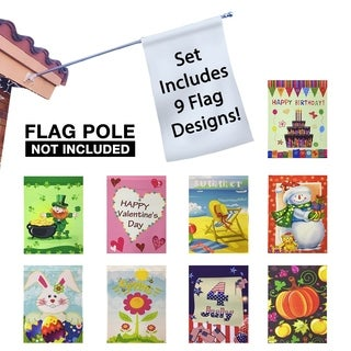 """Seasonal Holiday Garden Flags Set of 9 - 30"""" x 43"""" Flags: Birthday -Valentine's Day - Easter - St. Patrick's - 4th of July"""