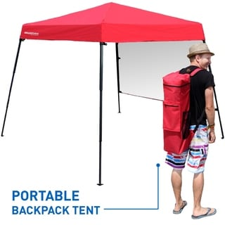 portable backpack tent base with awning top