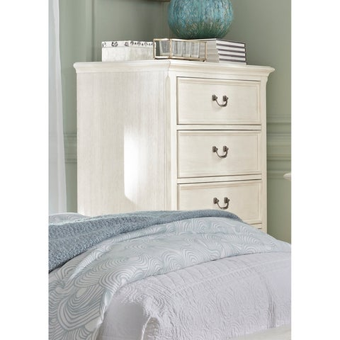 Bayside Heavy Wire Brushed Antique White 5-Drawer Chest