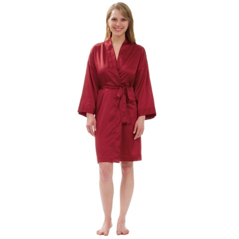 Leisureland Women's Stretch Matte Satin Robe
