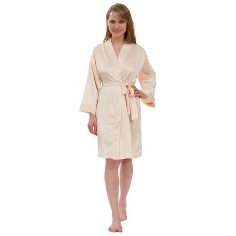 Leisureland Women's Stretch Matte Satin Robe