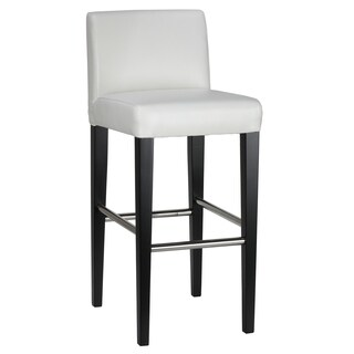 Cortesi Home Amsterdam White Eco-leather Bar Stool with Back and Black Wood Legs