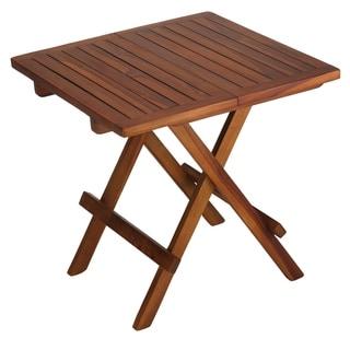 Bare Decor Ravinia Folding Teak Small Table, Oiled Finish