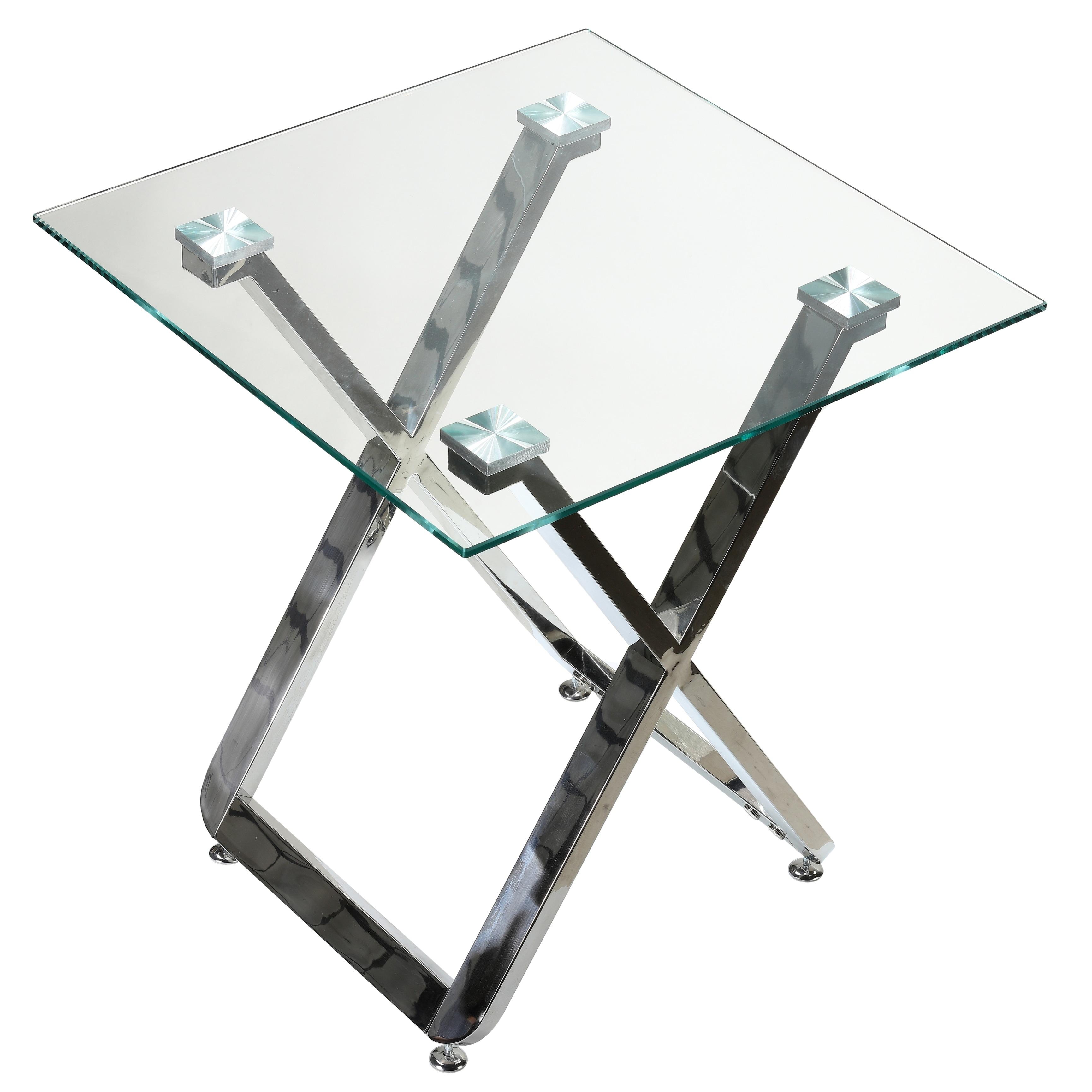 Cortesi Home Axe Square Glass Top Chrome Metal Base 20-in...